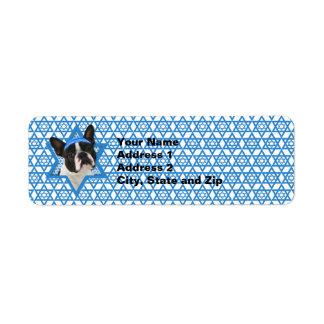 Hanukkah Star of David - Boston Terrier Return Address Label