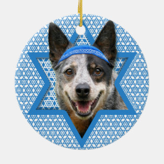 Hanukkah Star of David - Cattle Dog Round Ceramic Decoration
