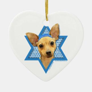 Hanukkah Star of David - Chihuahua Ceramic Heart Decoration