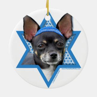 Hanukkah Star of David - Chihuahua Round Ceramic Decoration