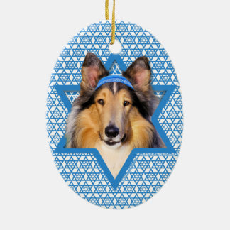 Hanukkah Star of David - Collie Ceramic Oval Decoration