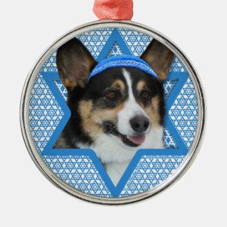 Hanukkah Star of David - Corgi Silver-Colored Round Decoration
