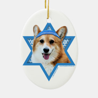 Hanukkah Star of David - Corgi - Owen Ceramic Oval Decoration
