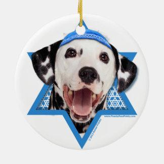 Hanukkah Star of David - Dalmatian Round Ceramic Decoration