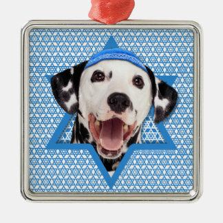 Hanukkah Star of David - Dalmatian Silver-Colored Square Decoration