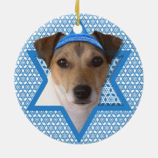 Hanukkah Star of David - Jack Russell Terrier Round Ceramic Decoration