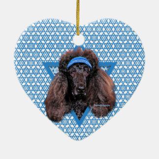 Hanukkah Star of David - Poodle - Bix Ceramic Heart Decoration