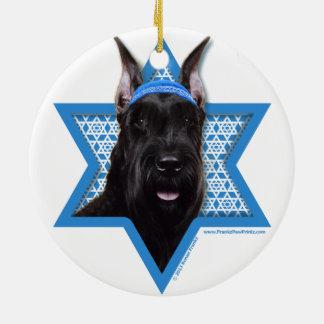 Hanukkah Star of David - Schnauzer Round Ceramic Decoration