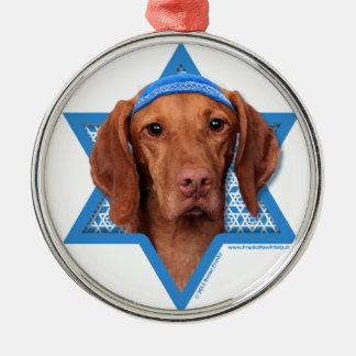 Hanukkah Star of David - Vizsla - Reagan Silver-Colored Round Decoration