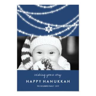 Hanukkah Star Sparkles Holiday Photo Greetings 13 Cm X 18 Cm Invitation Card