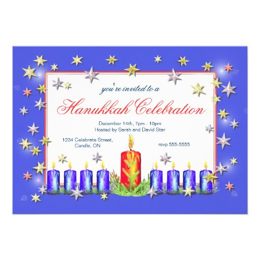 Hanukkah Stars and Candles Celebration Personalized Announcements