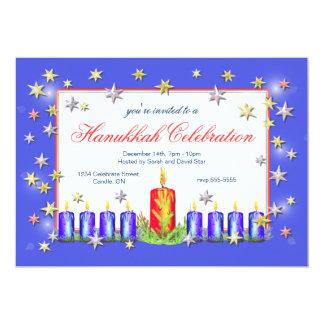 Hanukkah Stars and Candles Celebration 13 Cm X 18 Cm Invitation Card