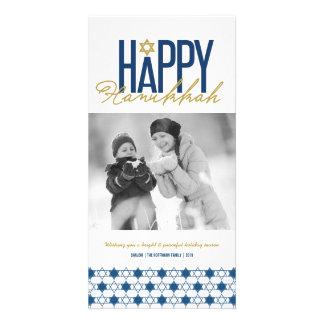 Hanukkah Stars Of David Modern Photo Greetings Card
