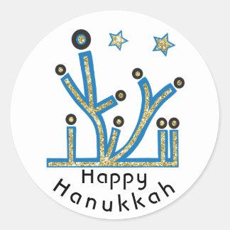 """Hanukkah Stickers """"Blue Bling Menorah"""""""