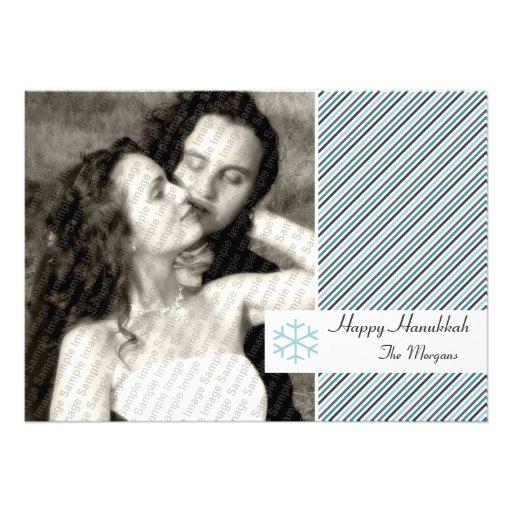 Hanukkah Stripes Card Personalized Invite