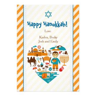 Hanukkah Stripes Greetings Card