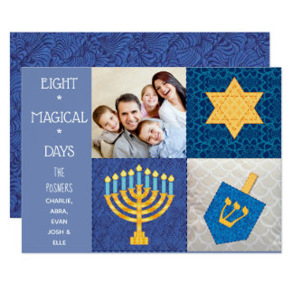 Hanukkah Symbols Quilt Photo Card