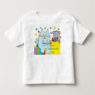 Hanukkah Toddler Jersey T-Shirt Blue Cat and Mouse