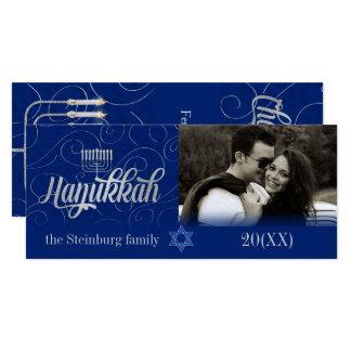 Hanukkah Wishes Custom Year Blue and Silver Photo Card