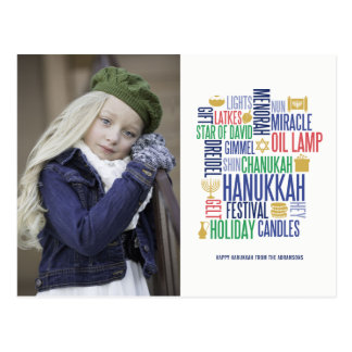Hanukkah Words Holiday Photo Postcard