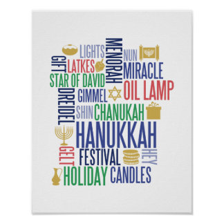 Hanukkah Words Holiday Poster Sign