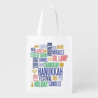 Hanukkah Words Holiday Reusable Tote Bag