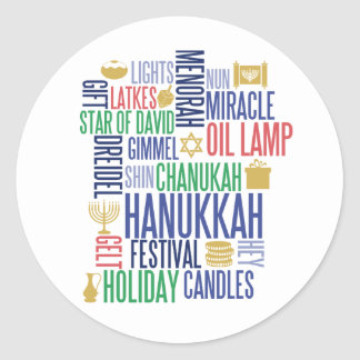 Hanukkah Words Holiday Round Stickers