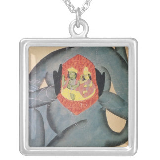 Hanuman revealing Rama and Sita Silver Plated Necklace