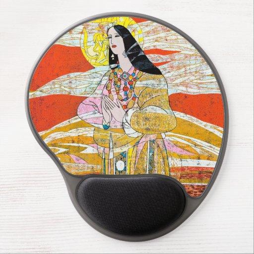 Hao Ping 'Pray' praying oriental lady abstract art Gel Mousepads