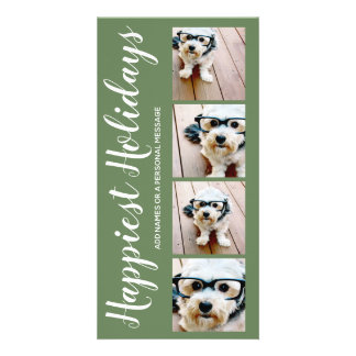Happiest Holidays 4 Photo Collage Christmas Green Card