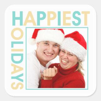 Happiest Holidays family photo christmas gift tag