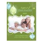 Happiest Holidays Green Family Photo Postcards