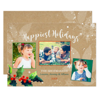 Happiest & Merriest Winter Berry Holiday Photo Card