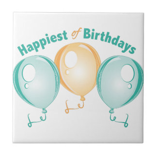 Happiest Of Birthdays Small Square Tile