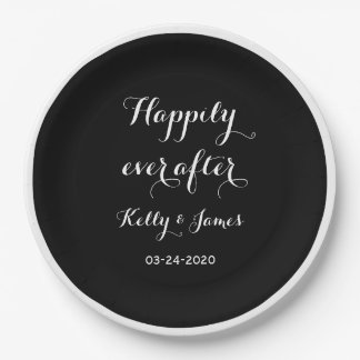 "Happily Ever After 9"" Wedding Paper Plates"