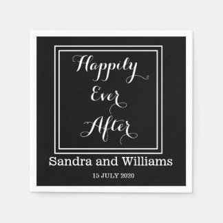 'Happily Ever After'-Black And White Personalized Disposable Napkins