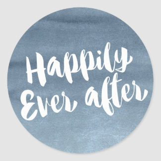 Happily Ever After,  Blue Watercolor Envelope Classic Round Sticker