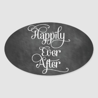 Happily Ever After Chalkboard Oval Sticker