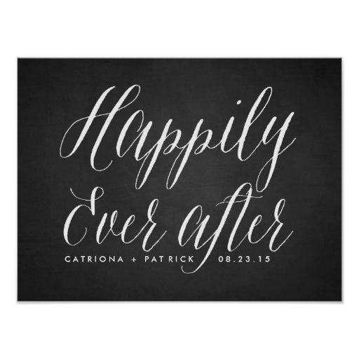 Happily Ever After Chalkboard Wedding Poster