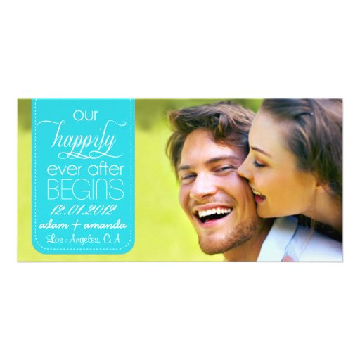 Happily Ever After Chic Save the Date Announcement Personalized Photo Card
