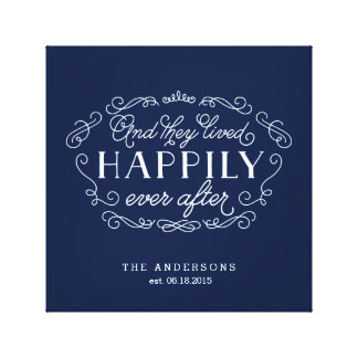 Happily Ever After Family Name Typographic Art Gallery Wrapped Canvas