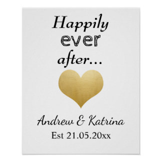 Happily Ever After | Faux Gold Foil Heart Wedding Poster