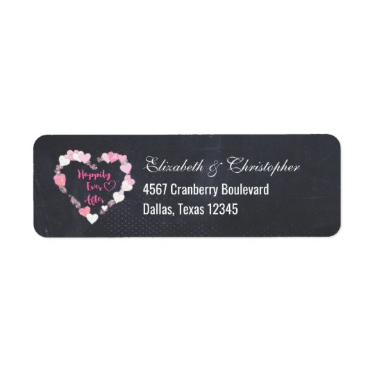 Happily Ever After Glittery Pink Hearts Return Address Label