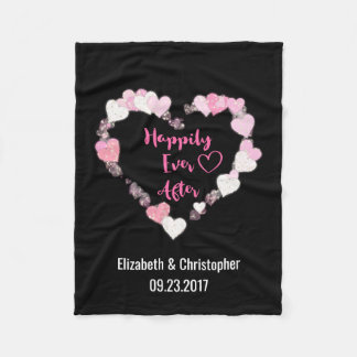 Happily Ever After Glittery Pink Hearts Wedding Fleece Blanket