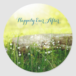 """""""Happily Ever After"""" Mystical Meadow Favor Sticker"""
