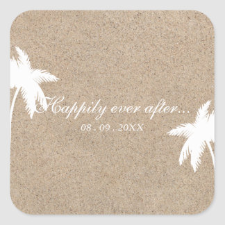 Happily Ever After Palm Tree Beach Wedding Sticker