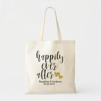"""""""Happily ever after"""" Personalized Wedding Welcome Tote Bag"""