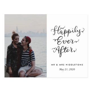 Happily Ever After | Script Wedding Photo Postcard