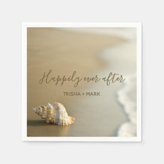 Happily Ever After Seashell on the Beach Wedding Disposable Serviette