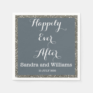 'Happily Ever After'-Silver Glitter Personalised Disposable Serviettes